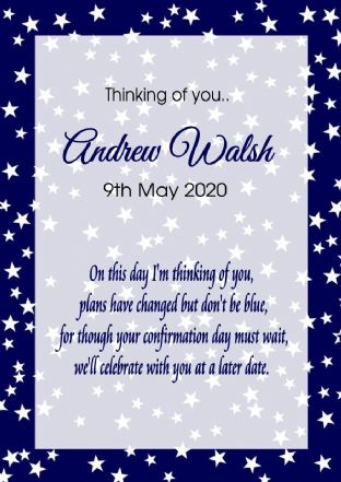 Thinking of you Communion or Confirmation Postponed Card Blue Stars